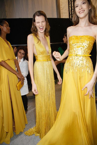 Pop of Color!  Warm yellows and buttery hues | image via Elie Saab
