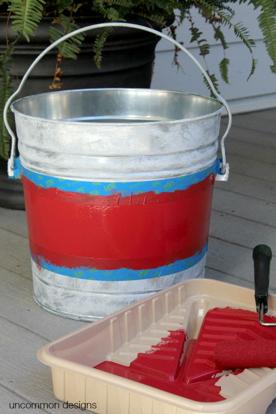 decorate your front porch with a rustic look with painted galvanized buckets see the tutorial on uncommon designs uncommondesigns