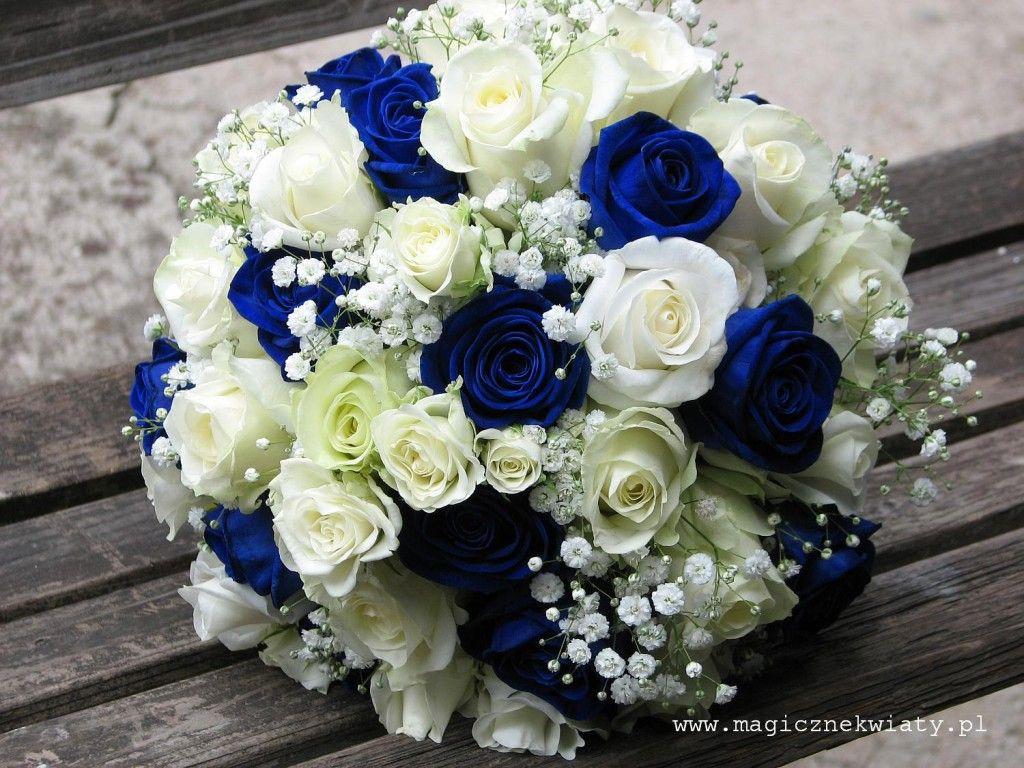 Granatowe Niebieskie Roze Bukiet Slubny Bialo Niebieski Flower Bouquet Wedding Blue Wedding Bouquet Wedding Bouquets Bride