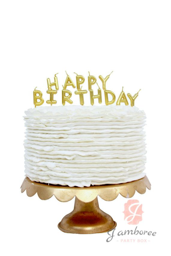 Gold Happy Birthday Candle Topper By JamboreePartyBox