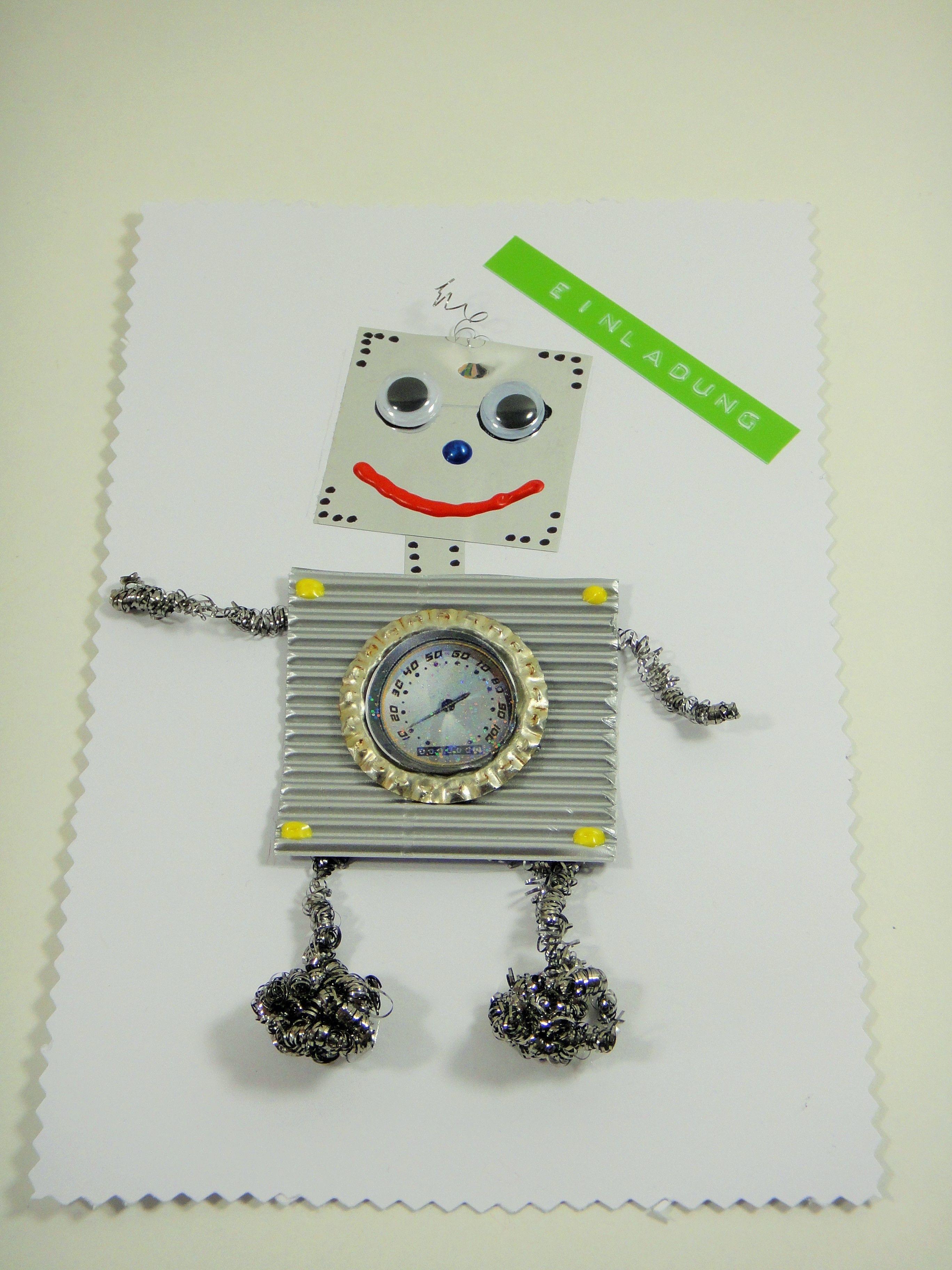 Robotereinladung zum kindergeburtstag einladung kinder for Pinterest deutsch basteln