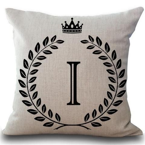 Crown Letter 43*43cm Cotton Linen Pillow Cushion Cover