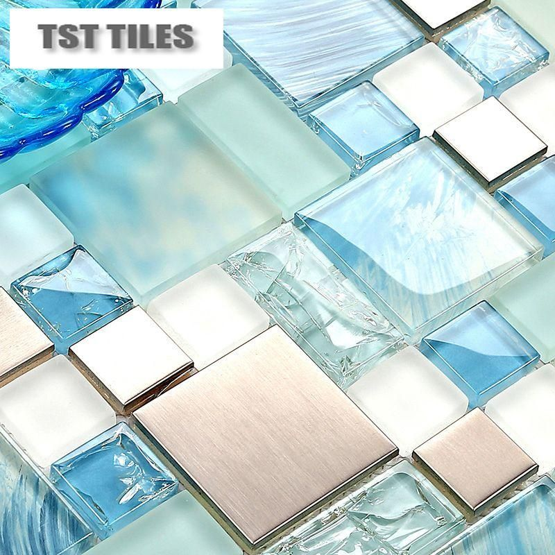 Modern Sale 11sheets Lot Blue Sea Glass Kitchen Tiles Bathroom Mirror Tile Backsplash Silver