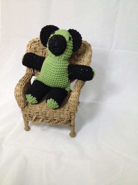Handmade Teddy Bear Green and Black by MamaFigDesigns on Etsy, $30.00