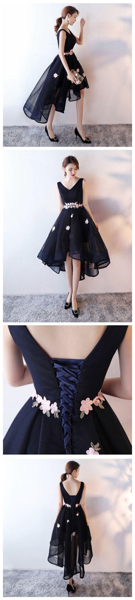 Chic aline vneck dark navy asymmetrical short prom dress