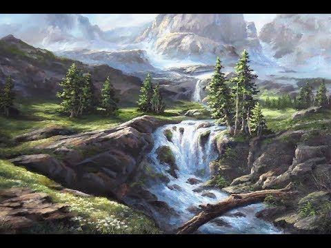 Sunlit Mountain Waterfall Oil Painting Landscape Demo Youtube Pejzazhi Vodopady Kartiny