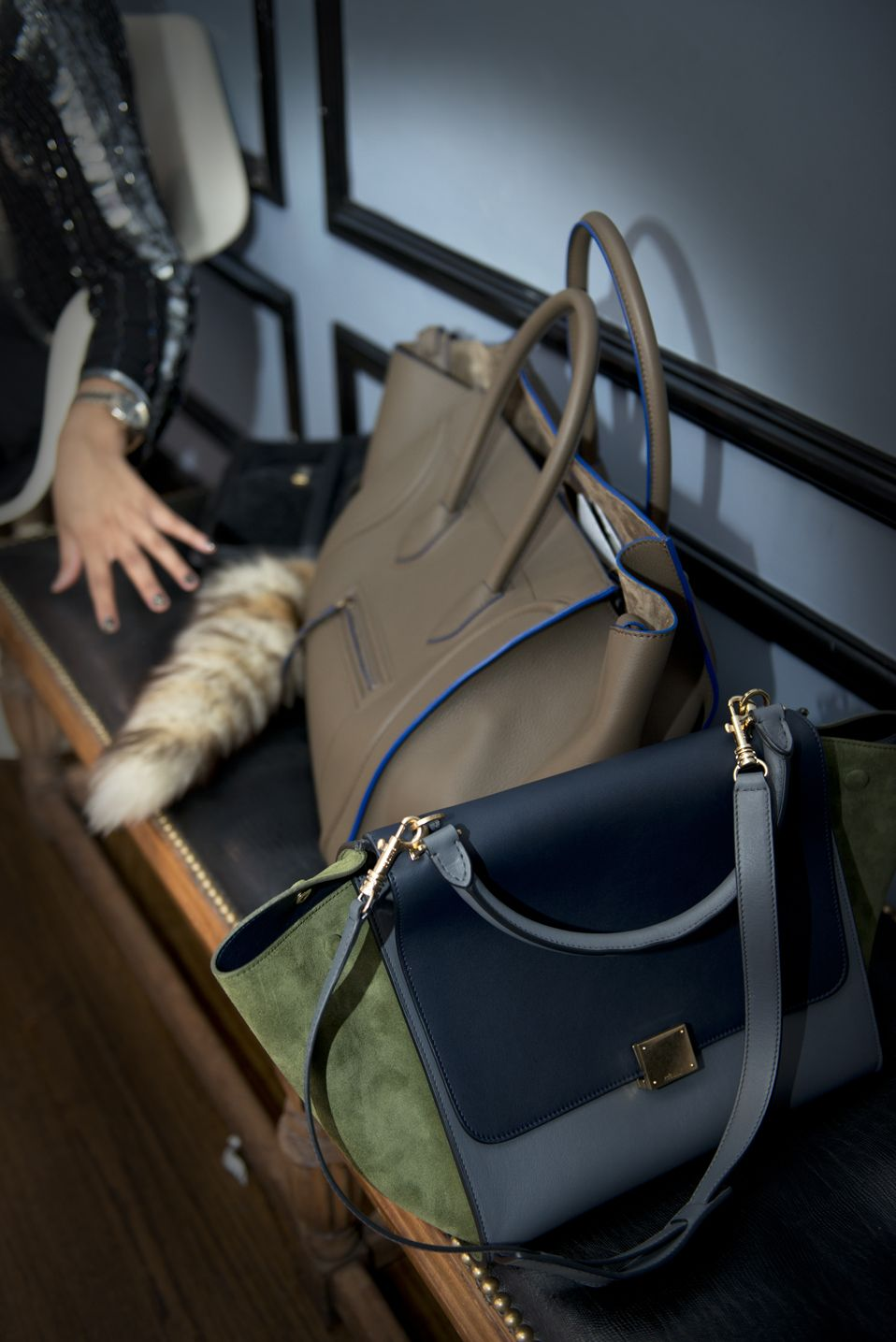 3710b352dd41 My Celine Trapeze bag in green suede with blue and grey colors and my  friend s Celine