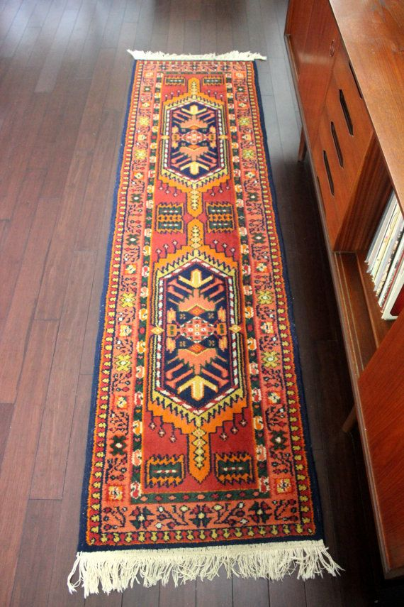 Persian Tribal Design Kashmir Wool Runner Rug Bohemian Decor
