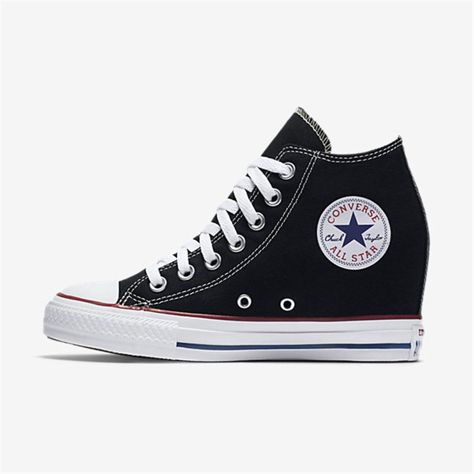 c46a07f18e78c2 NIKE Converse Chuck Taylor All Star Lux Wedge Mid (Black)
