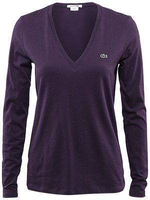Lacoste Women's Holiday V-Neck LS Top $60