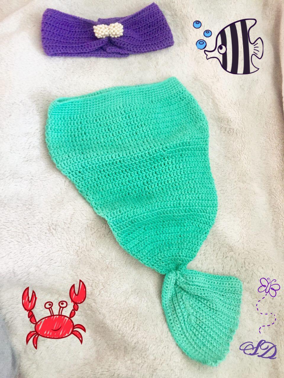 Meerjungfrau Flosse Gehäkelt Baby Urlaub Sommer Outfit