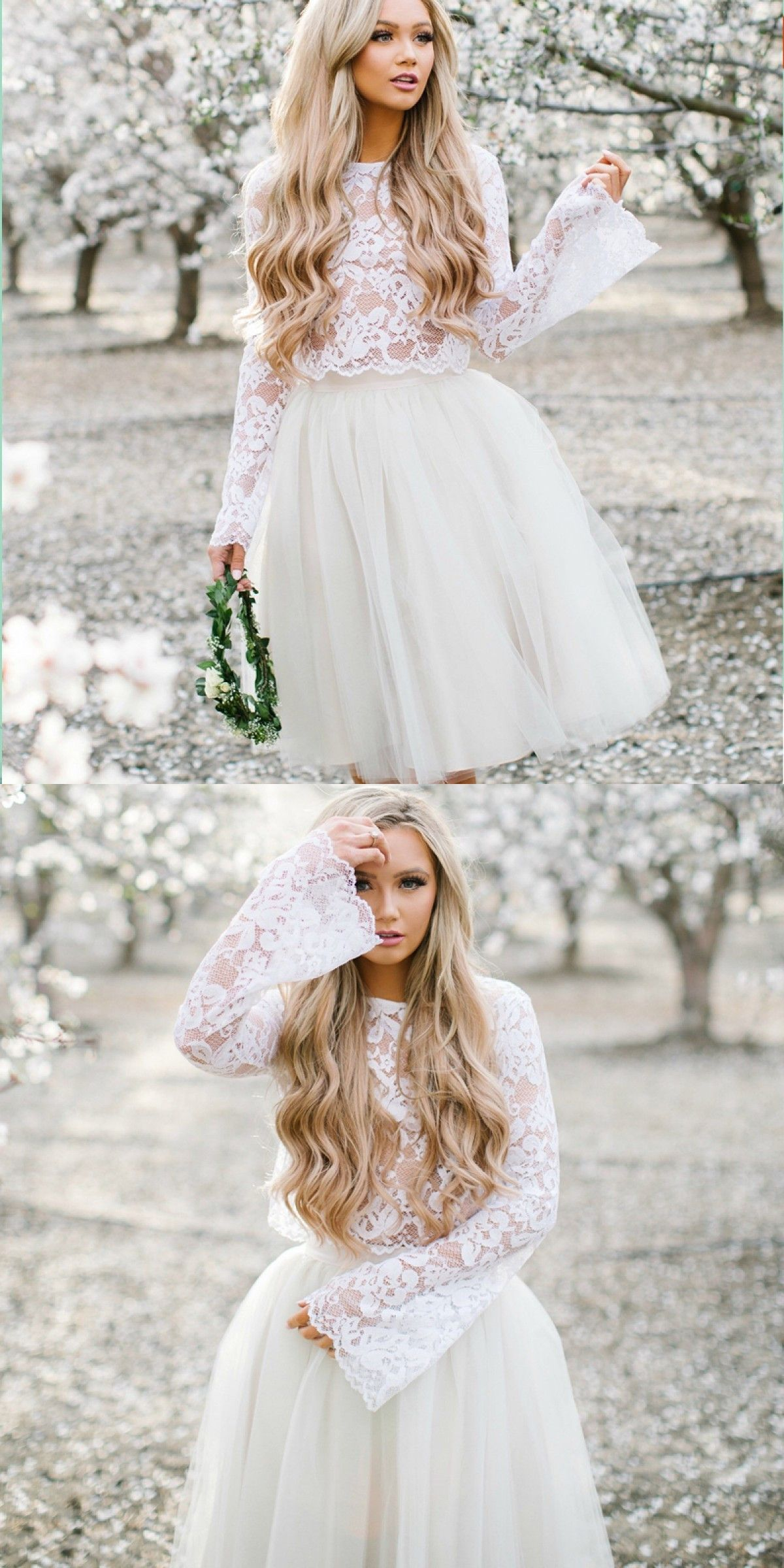 Two piece crew short white tulle homecoming dress with lace in