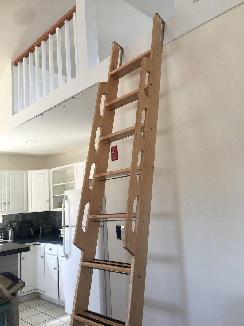 Marine Style Maple Loft Ladder With A Honey Maple Finish And A Vertical Storage Option En 2020 Amenagement Maison Escalier Escamotable Maison
