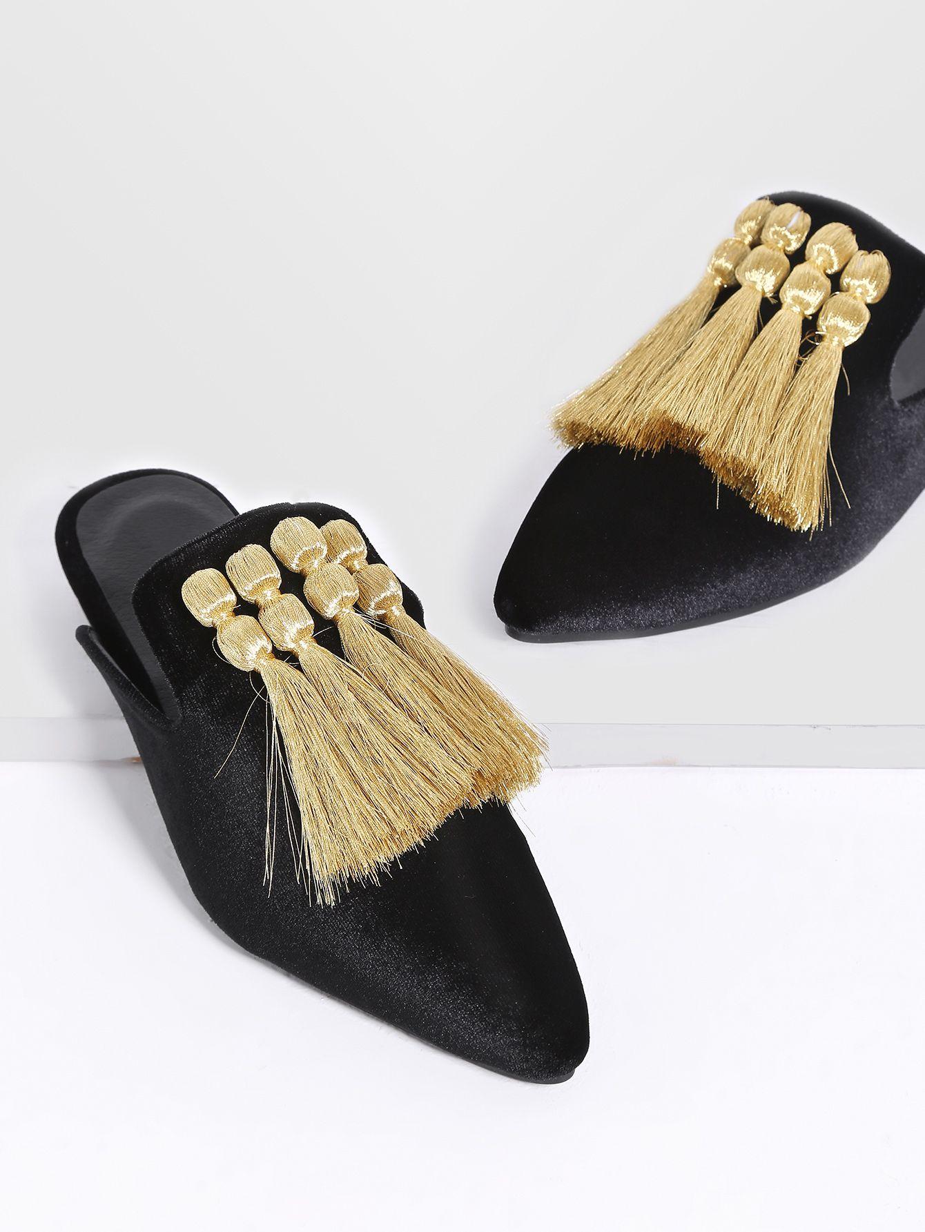 Shop Black Fringe Detail Point Toe Flat Slippers Online