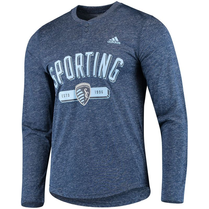 b7c075bd47545 Sporting Kansas City adidas Friendly Long Sleeve Henley T-Shirt ...