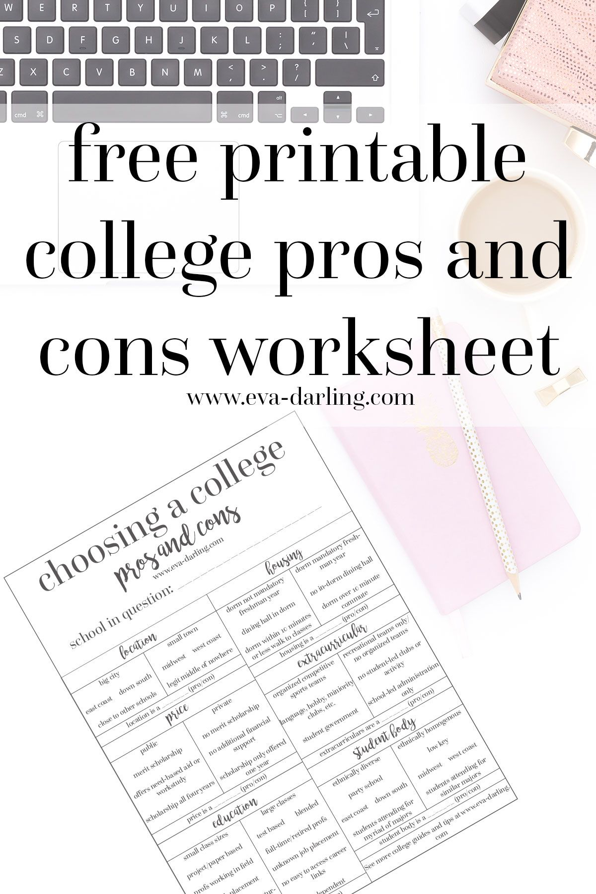 How To Determine Your College Pros And Cons Free Printable