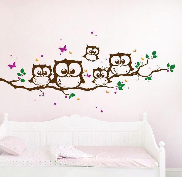 wandtattoo eulen eule eulenzweig eulenwandtattoo b. Black Bedroom Furniture Sets. Home Design Ideas