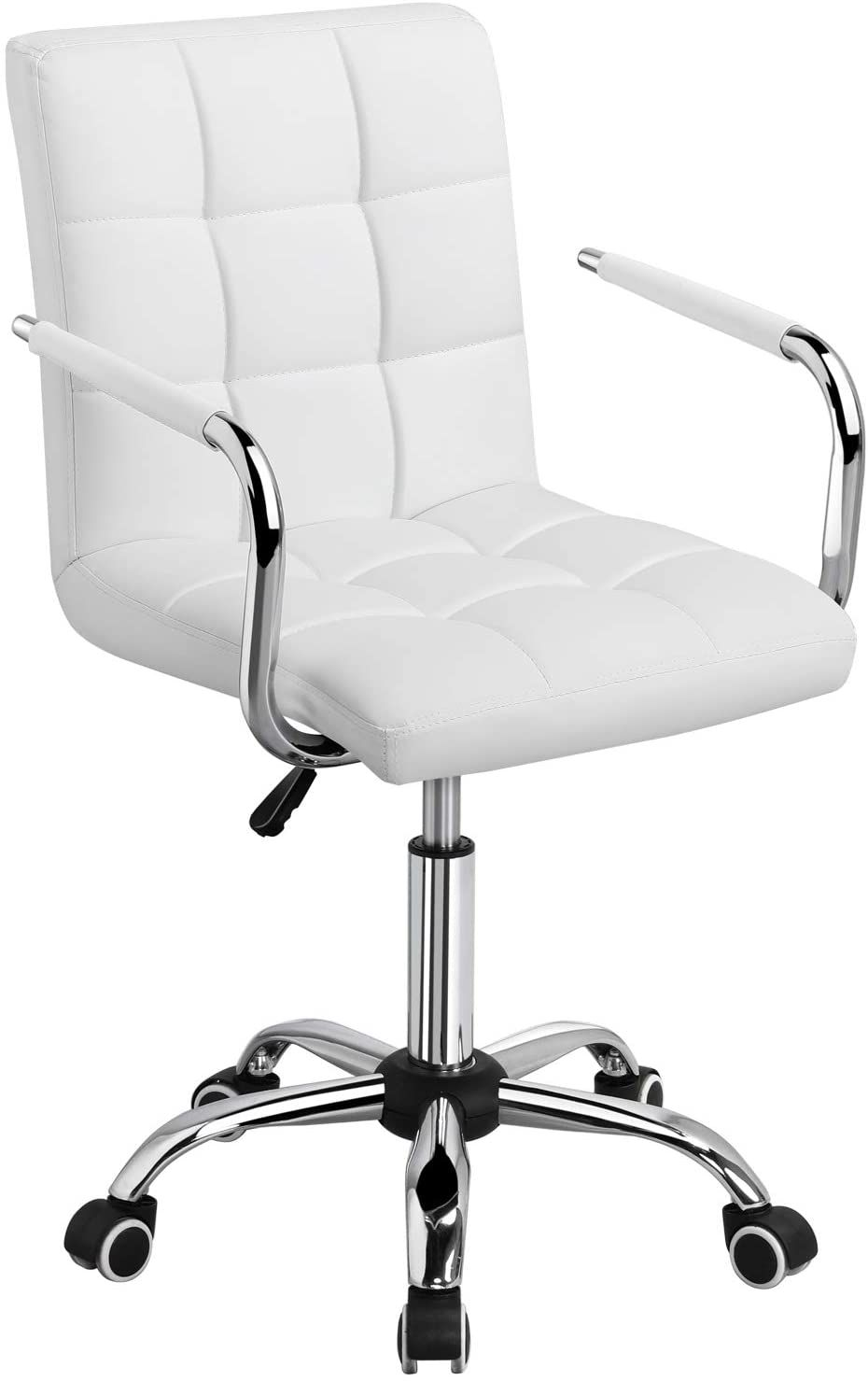 Modern White Chair In 2020 White Office Chair White Desk Chair No Wheels Leather Office Chair