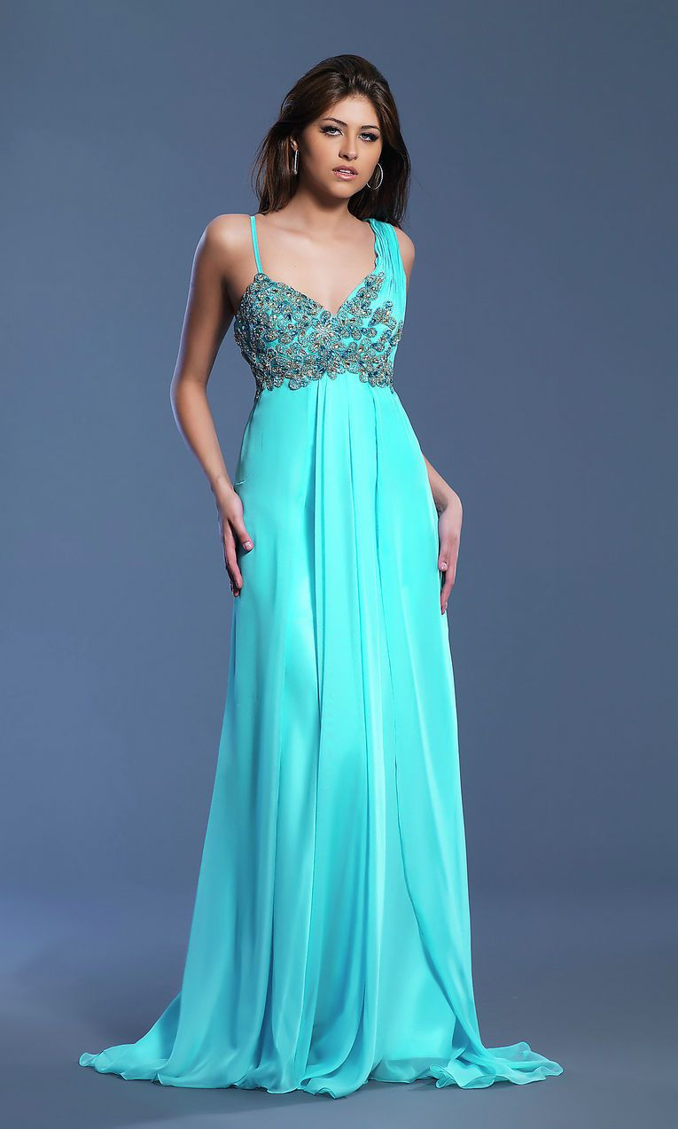 Asymmetric Embellished Bodice Beaded Long V Neck Empire Turquoise ...