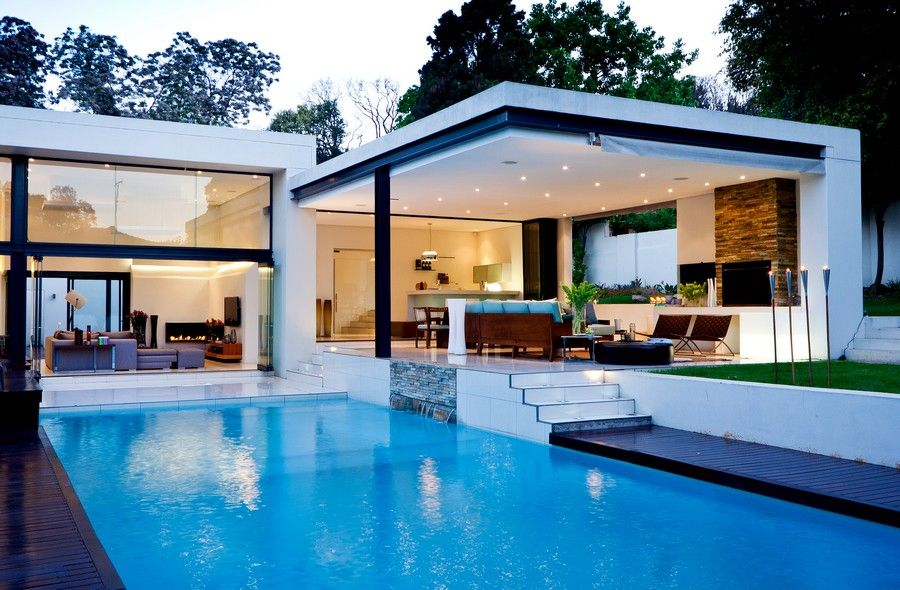 pool patio ideas bring modernity luxury flat roof house design blue - Big Houses With Pools Inside The House