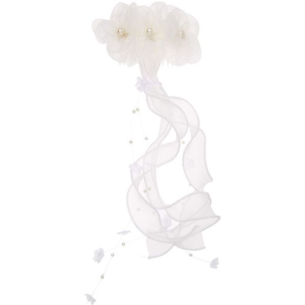 Monsoon Communion Corsage Tassle Veil Clip (£6.21) ❤ liked on Polyvore featuring accessories, hair accessories, flower hair clip, ribbon hair clips, barrette hair clips, flower corsage and hair clip accessories
