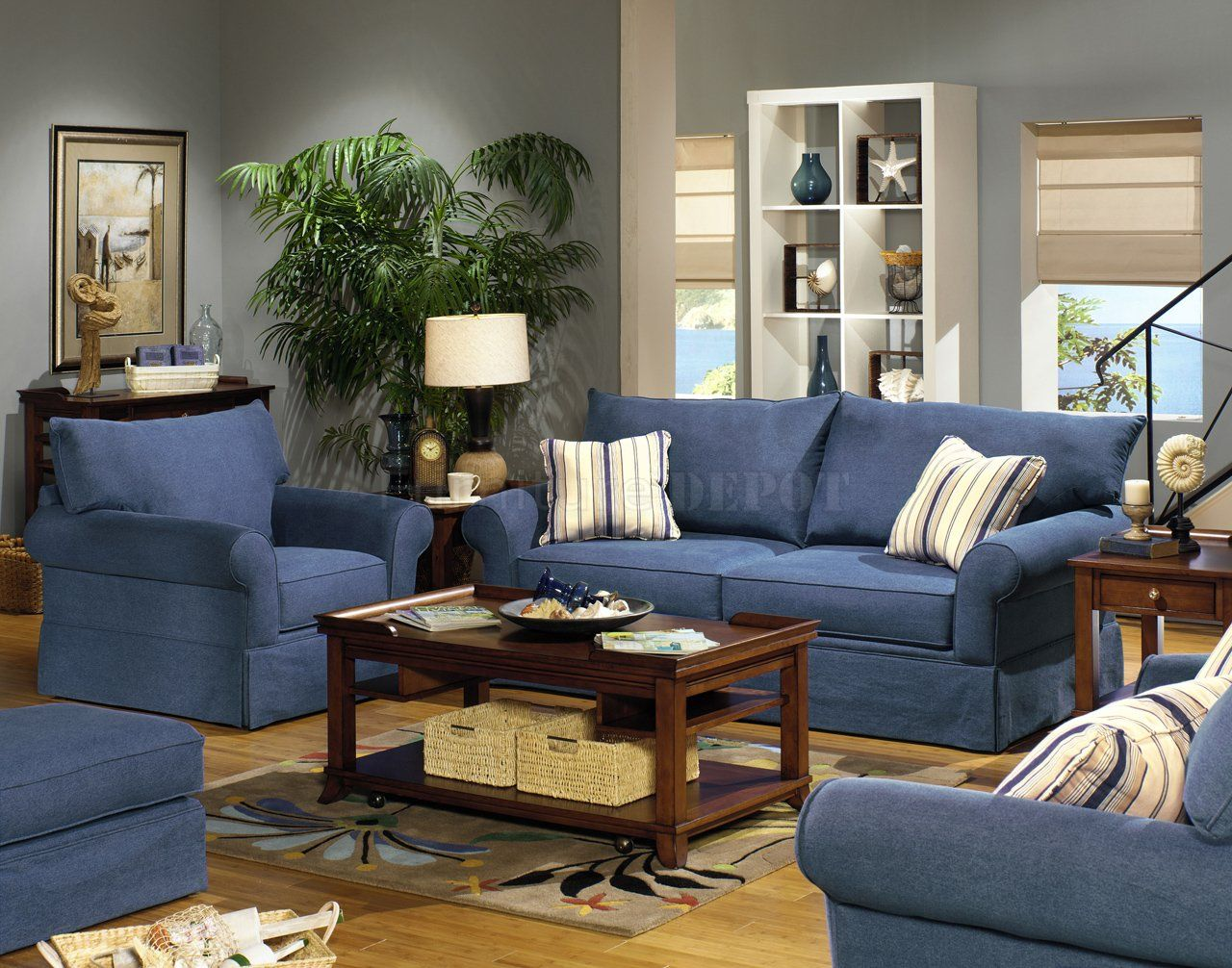 Blue living room furniture sets blue denim fabric modern for Blue couch living room