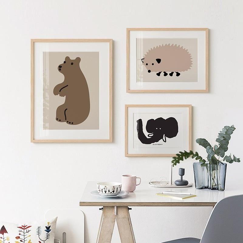 Jaguar Growling Panther Canvas Art Print By: Cute Animals Nursery Wall Art Three Bears Hedgehog Panther