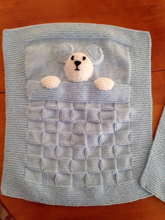 Photo of Pretty handmade baby blanket, knitted blanket
