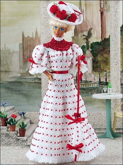 Crochet Pattern of the Day Midnight Gold Fashion Doll Gown Pattern #beddollsandcrocheted1112sizedolldresses