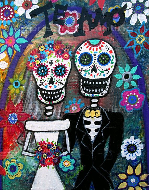 Folk Art Painting Mexican Day Of The Dead Wedding Valentine Original Flowers