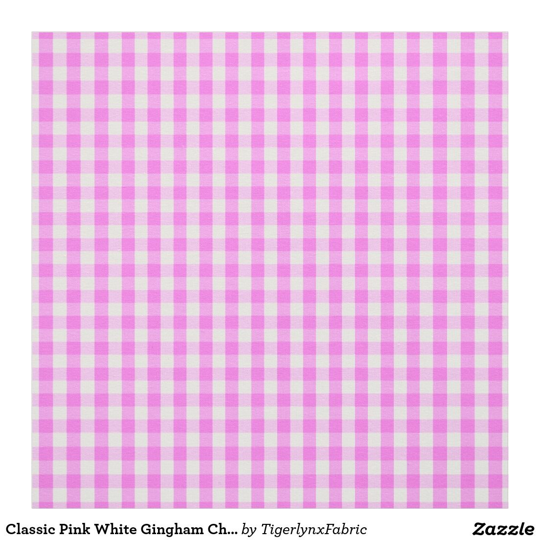 Classic Pink White Gingham Check Pattern Fabric (With