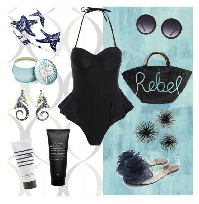 """Sea salt"" by lilimia ❤ liked on Polyvore featuring Designers Guild, Brewster Home Fashions, Pirette, Luna Bronze, Alice + Olivia, Eugenia Kim, in2green and Voluspa"