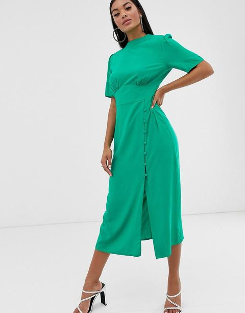 Asos Design Midi Tea Dress With Buttons Green From Asos On 21 Buttons In 2020 Petite Shirt Dress Maxi Dress Prom Tea Dress