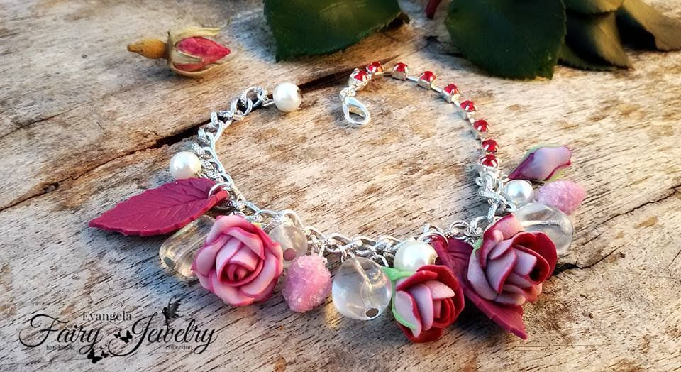 Bracciale rose fiori rosa fucsia alluminio fimo pasta polimerica modellato a mano handmade, by Evangela Fairy Jewelry, 15,00 € su misshobby.com