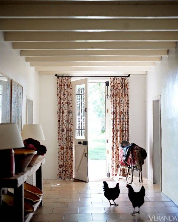 Drapes Flanking Front Door, I Envy These People With A Saddle And Chickens  Or Roosters In Their Tiled Floor Entry | Living Room | Pinterest | Front  Doors, ...