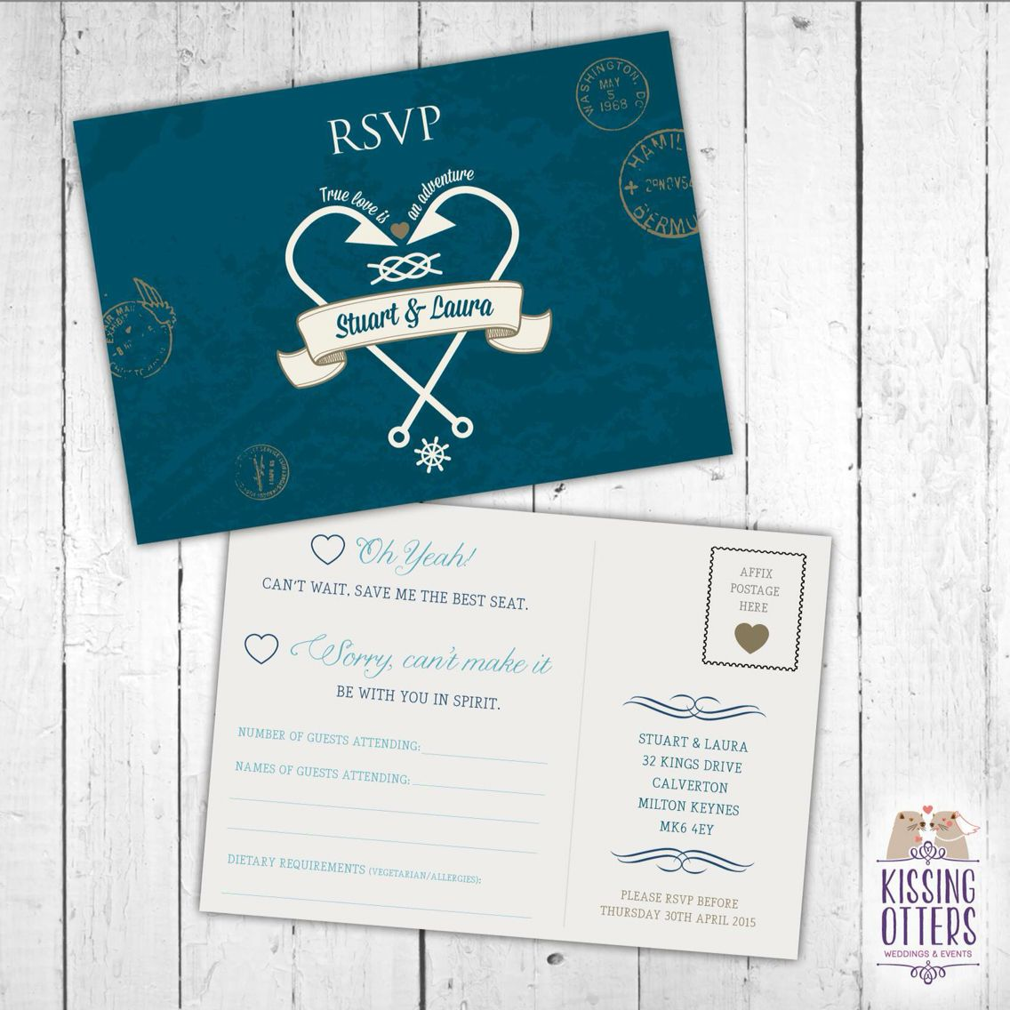 Wedding invitation in a passport style with postcard RSVP. Ocean ...