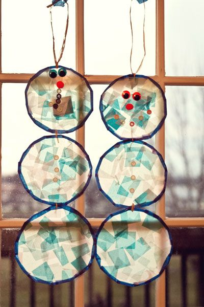 Cute Winter Craft For Kids Stained Glass Snowmen Snowmen Winter