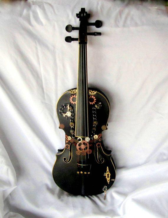 Violin Steampunk Style Black Wood Instrument Wall Art 4 X 4 Gothic Screws Gears Chains Found Objects Original Wall Hanging Violin Violin Art Violin Instrument