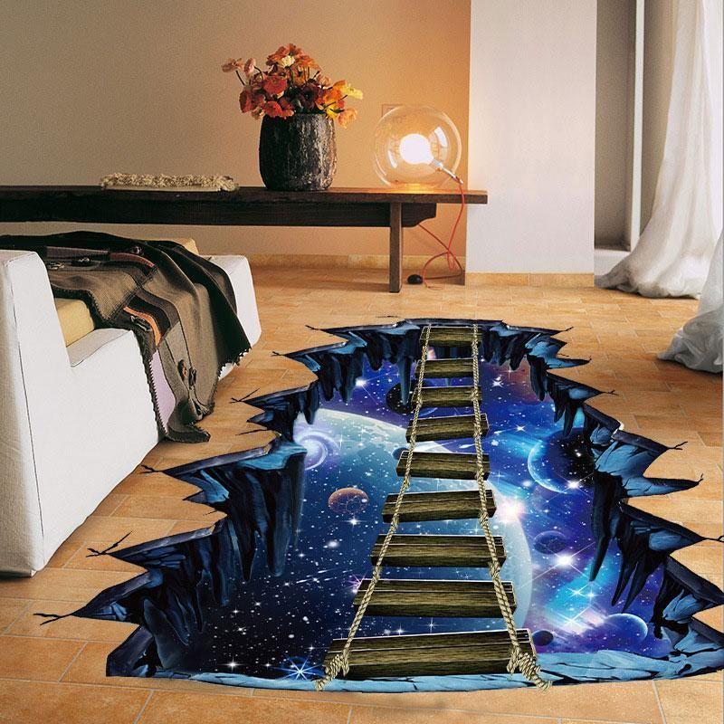 3d Cosmic Space Wall Sticker Decal Galaxy Star Bridge Floor Wallpaper Kid Room Decor Wall Stickers Home Decor