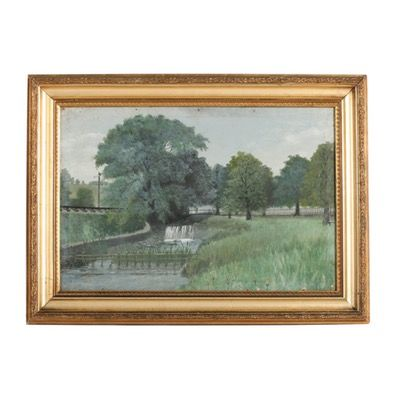 Circa 1908 Painting of English Landscape and Millstream, Signed