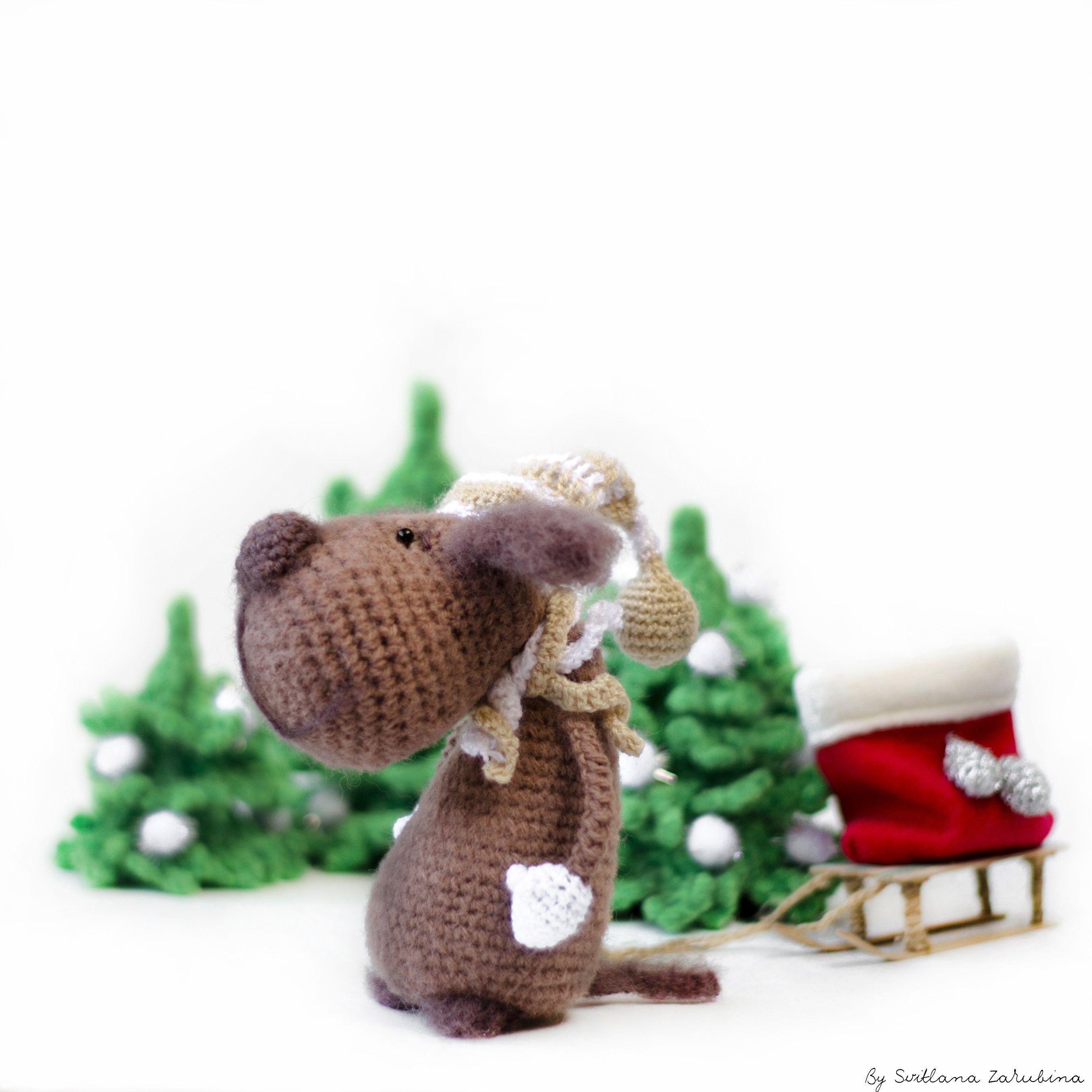 Amigurumi Dog Christmas Toys Hand Knitted Dog Toy Miniature Dog