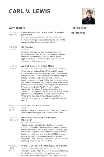 Cv Template Journalist Cvtemplate Journalist Template Sample Resume Job Resume Examples Cv Template