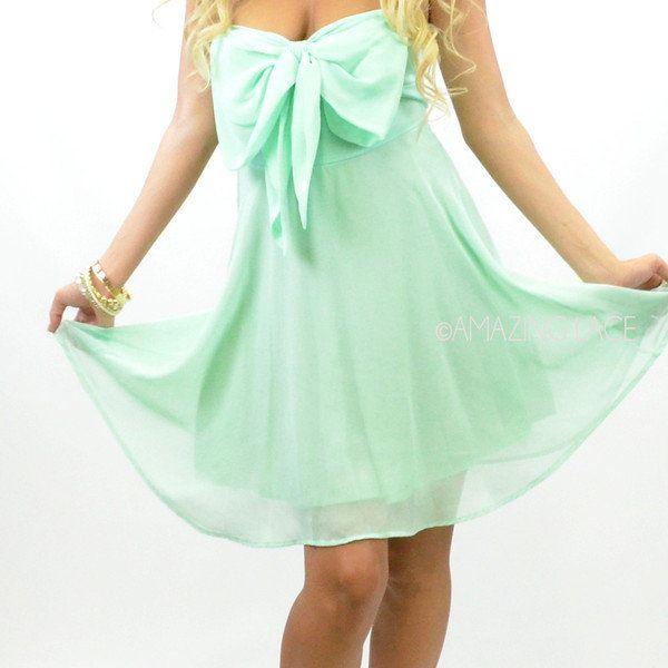 Camelot Mint Bow Top Chiffon Mint Dress