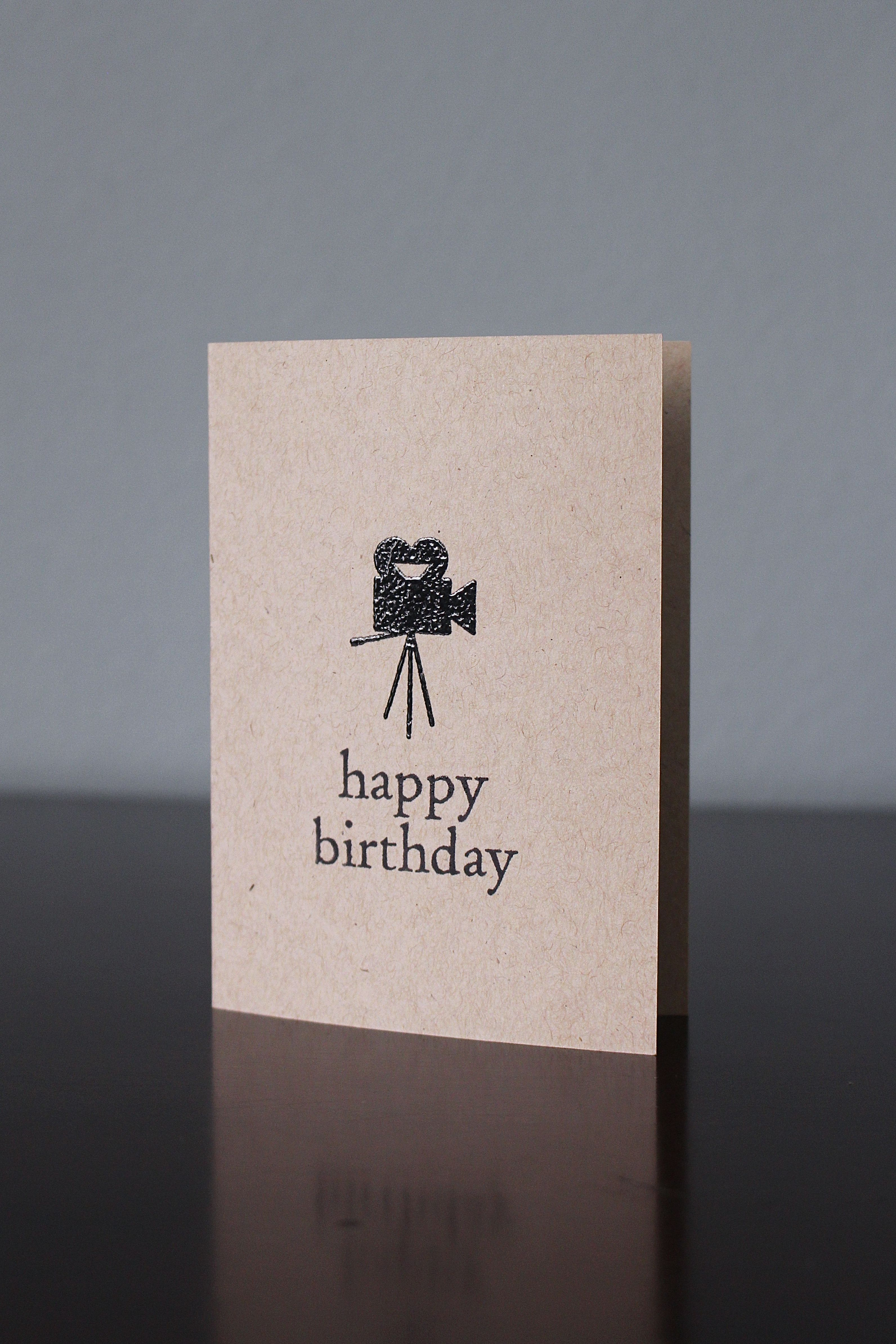 Handmade Vintage Movie Camera Birthday Card With Black Embossing Available At Vintage Movies Handcraft Birthday Cards
