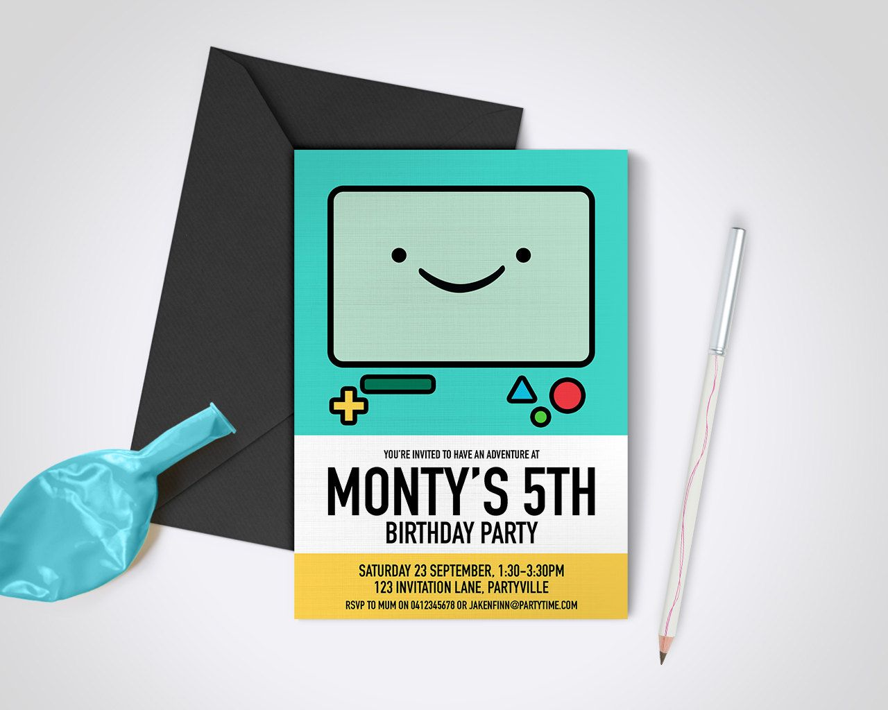 Adventure Time Beemo Printable Party Invite Edit And