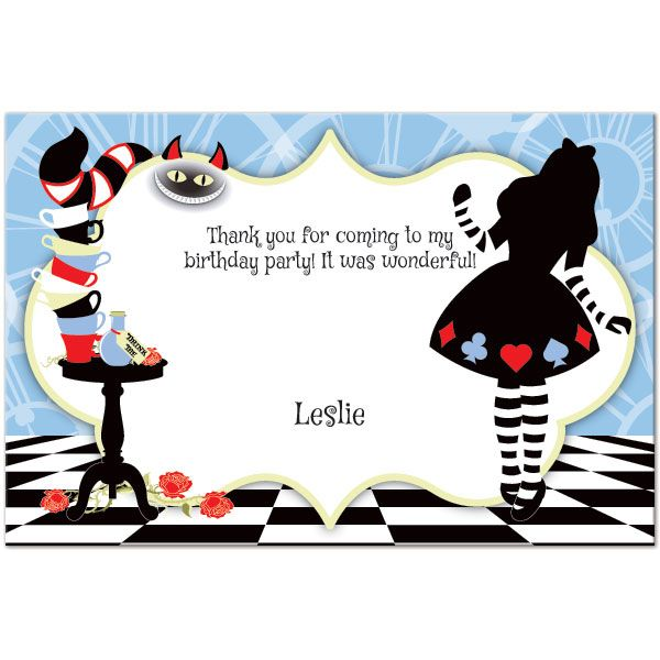 Alice In Wonderland Customized Thank You Notes Will Let Your