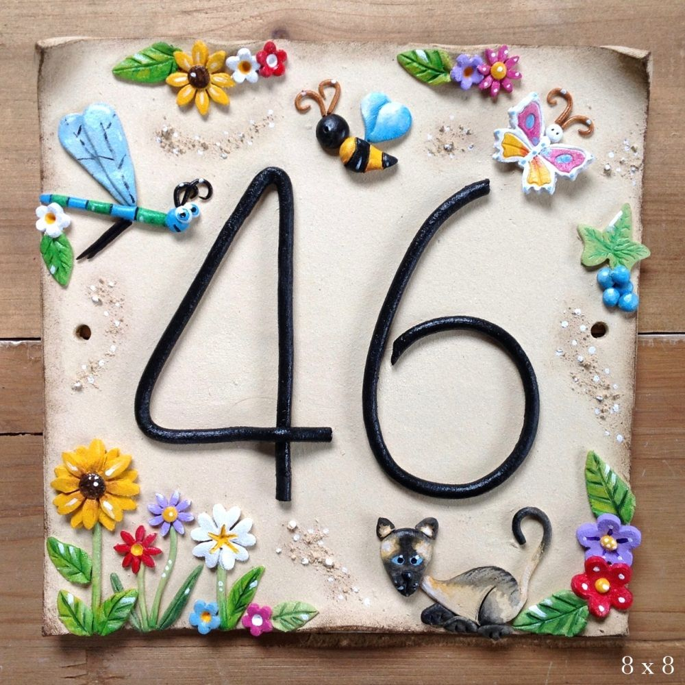 House address number dragonfly design address tiles pinterest this beautifully hand made ceramic house sign is personalised with your own house number decorated with a dragonfly pretty tulip flowers and a cute cat dailygadgetfo Gallery