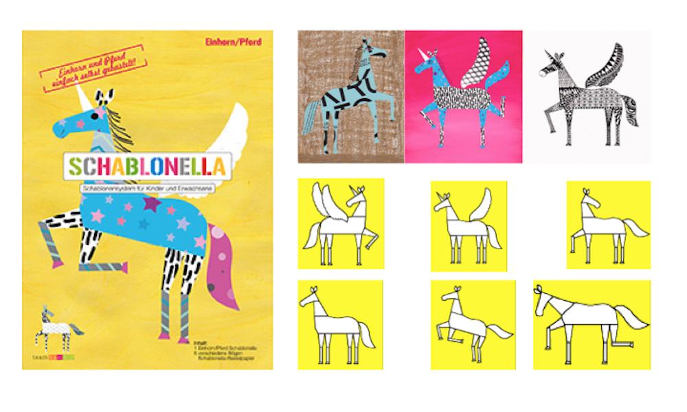 Schablonella Einhorn und Pferd postkarten poster selbst