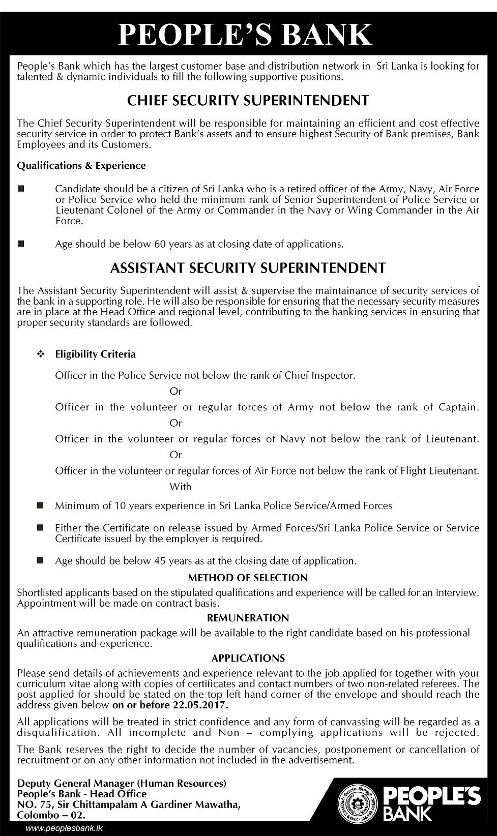 Chief Security Superintendent Assistant Security Superintendent