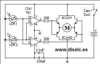 invertir motores en circuito con fotoresistencias